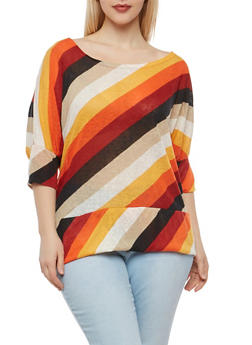 Plus Size Striped Dolman Sleeve Top - 1912038342344
