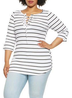 Plus Size Striped Rib Knit Tunic Top - 1912038342433