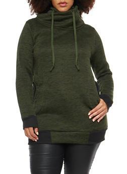 Plus Size Tunic Sweatshirt with Funnel Neck - 1912038342566