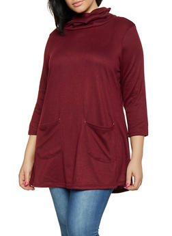 Plus Size Cowl Neck Sweater - 1912038343113