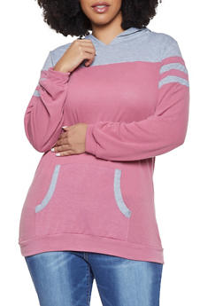 Plus Size Contrast Trim Hooded Tee - 1912038343176
