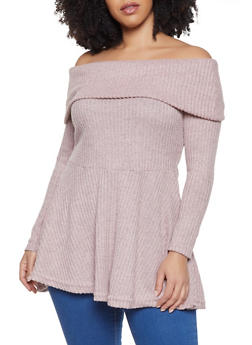Plus Size Fold Over Off the Shoulder Tunic Top - 1912038343198