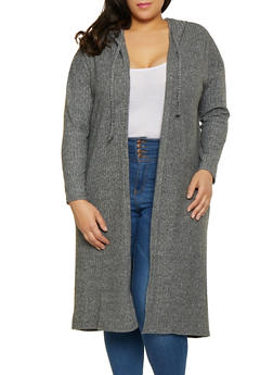 Plus Size Brushed Knit Duster - 1912038343199