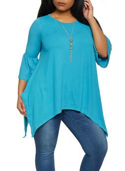 Turquoise Plus Size Tops Or Women Rainbow