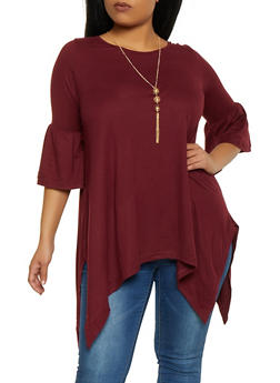 Plus Size Sharkbite Hem Top with Necklace - 1912038343204