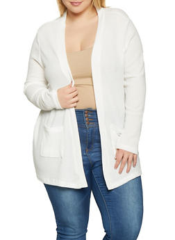 Plus Size Open Front Cardigan - 1912038343320