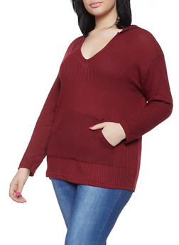 Plus Size Hooded Textured Knit Top - 1912038343321