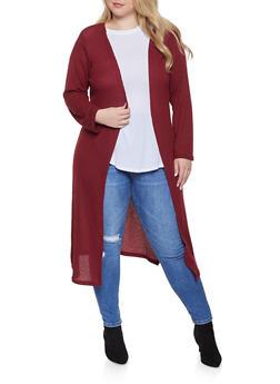 Plus Size Long Knit Cardigan - 1912038343323