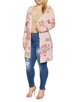 Plus Size Floral Knit Duster - 1912038343380