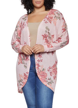 Plus Size Floral Knit Cardigan - 1912038343382