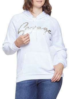 Plus Size Savage Graphic Hooded Sweatshirt - 1912038343407