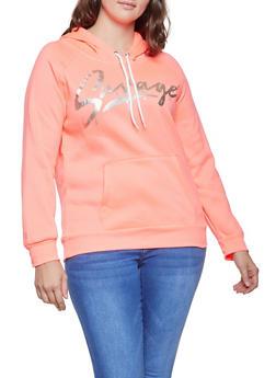 Plus Size Savage Graphic Hooded Sweatshirt - 1912038343407