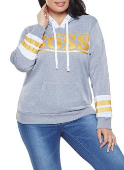 55afd9102d290 Plus Size Boss Graphic Hooded Sweatshirt - 1912038343426
