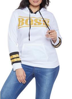 Plus Size Boss Graphic Hooded Sweatshirt - 1912038343426