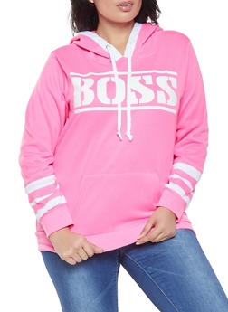 Plus Size Boss Graphic Hooded Sweatshirt - 1912038343426