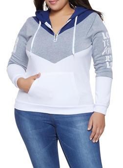 e4536cb6465 Plus Size Love Graphic Color Block Sweatshirt - 1912038343437