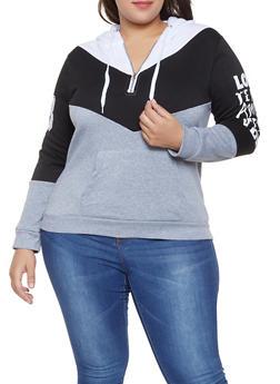 Plus Size Love Graphic Color Block Sweatshirt - 1912038343437