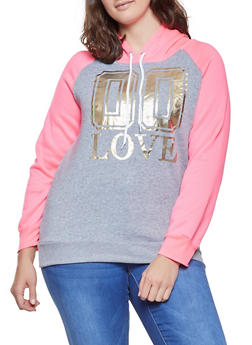 Plus Size Foil Graphic Color Block Sweatshirt - 1912038343720
