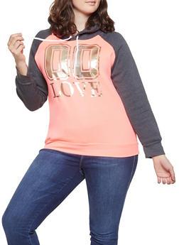 Plus Size Foil Graphic Color Block Sweatshirt - 1912038343720