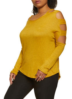 Plus Size Brushed Knit Caged Sleeve Top - 1912038344171