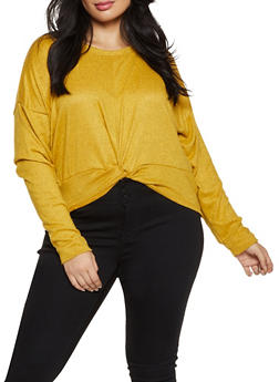 Plus Size Knotted Hem Brushed Knit Top - 1912038344172