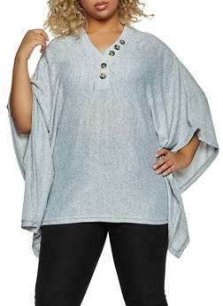 Plus Size Button Detail Poncho - 1912038344173
