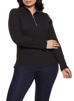 Plus Size Half Zip Ribbed Knit Top - 1912038344230