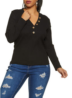 Plus Size Ribbed Knit Button Detail Top - 1912038344240