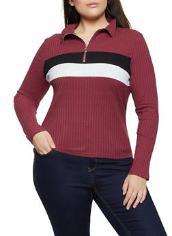 Plus Size Ribbed Zip Neck Top - 1912038344247