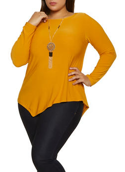 Plus Size Asymmetrical Stretch Top with Necklace - 1912038344312