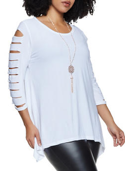Plus Size Slashed Sharkbite Top with Necklace - 1912038344313