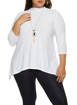 Plus Size Mock Neck Sharkbite Top with Necklace - 1912038344314