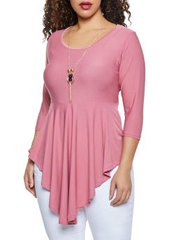 Plus Size Ruffled Top with Necklace - 1912038344315