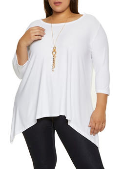 Plus Size Scoop Neck Stretch Top with Necklace - 1912038344316