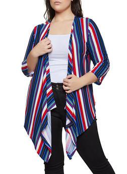 Plus Size Striped Flyaway Cardigan - 1912038344325