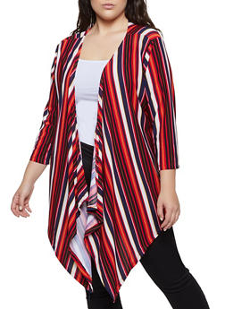 Plus Size Striped Flyaway Cardigan - 1912038344325