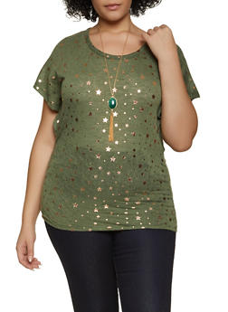 Plus Size Star Print Top with Necklace - 1912038344355