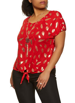 Plus Size Foil Feather Print Knit Top with Necklace - 1912038344356