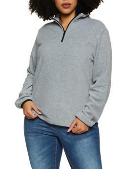 Plus Size Half Zip Fleece Sweatshirt - 1912038344451