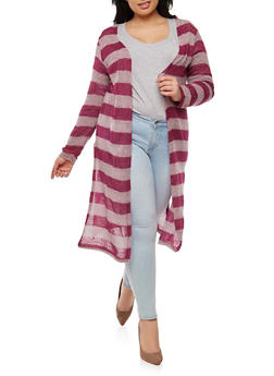 Plus Size Striped Knit Duster - 1912038345015