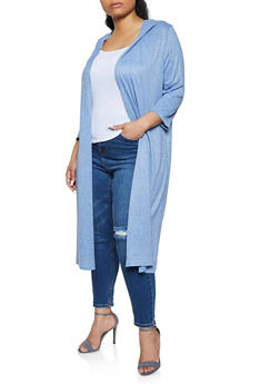 Plus Size Hooded Brushed Knit Duster - 1912038347019