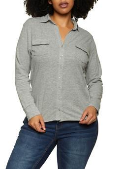 Plus Size Two Pocket Shirt - 1912038347034