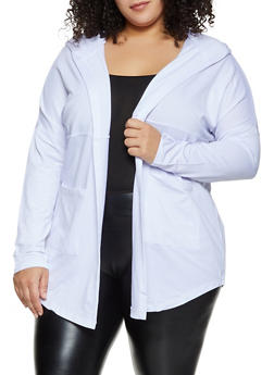 Plus Size Hooded Two Pocket Cardigan - 1912038347330