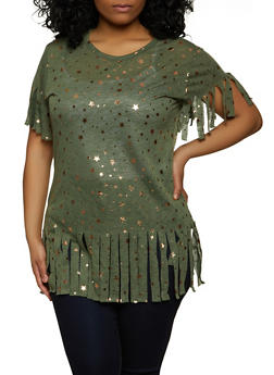 Plus Size Foil Star Print Knit Fringe Top - 1912038347435