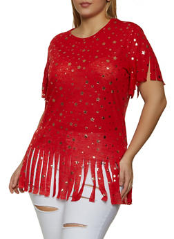 Plus Size Foil Star Print Knit Fringe Top - 1912038347435