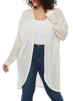 Plus Size Glitter Knit Long Cardigan - 1912038348007