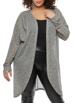 Plus Size Glitter Knit Long Cardigan - 1912038348007