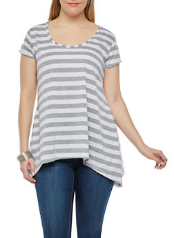 Plus Size Striped Sharkbite Hem Top - 1912038348010