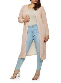Plus Size Glitter Knit Duster - 1912038348015