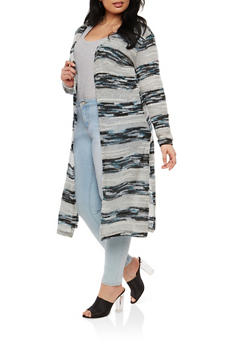 Plus Size Striped Knit Duster - 1912038348815